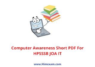 Computer Awareness Short PDF For HPSSSB JOA IT