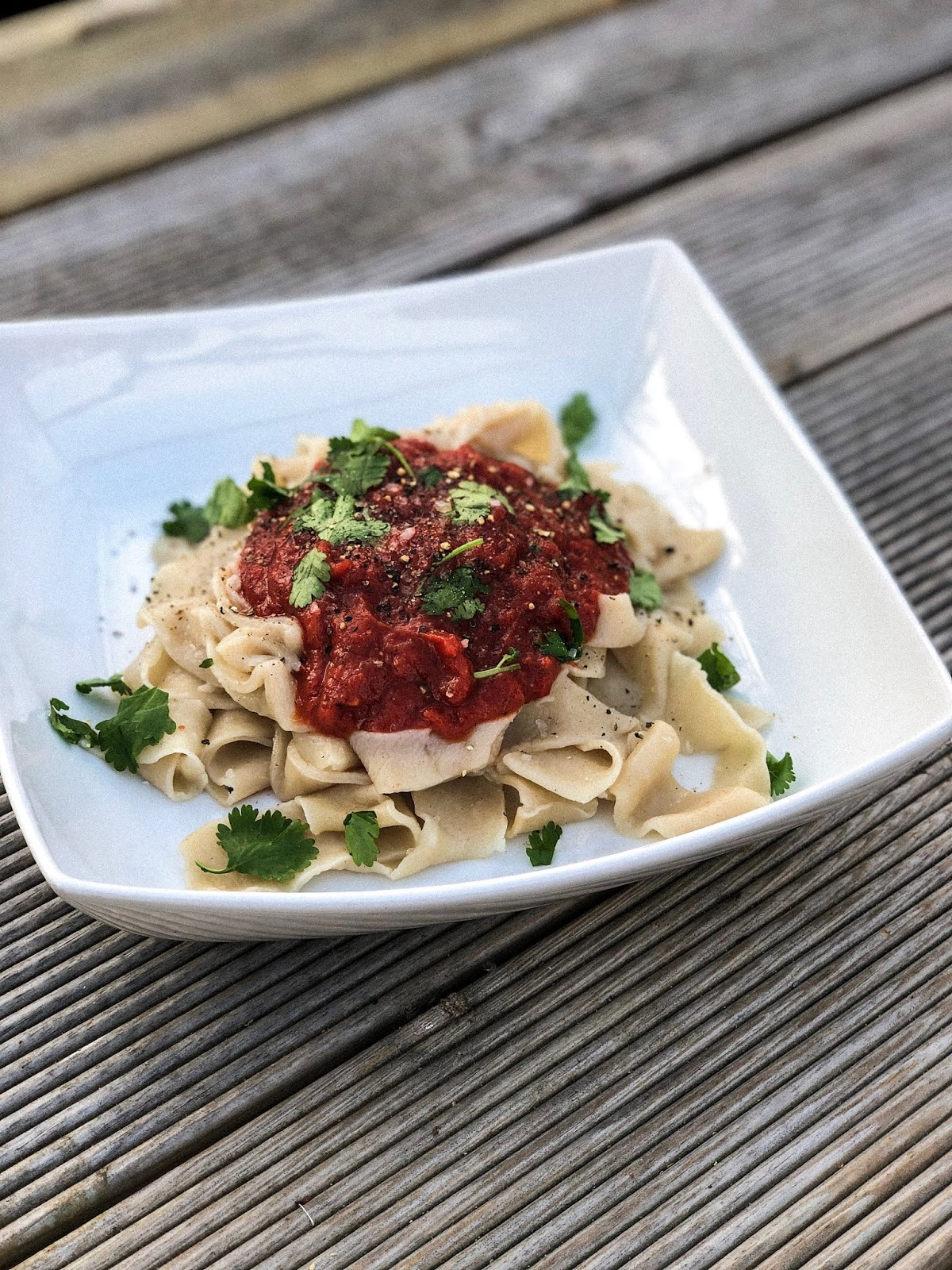 vegan homemade pasta on plate