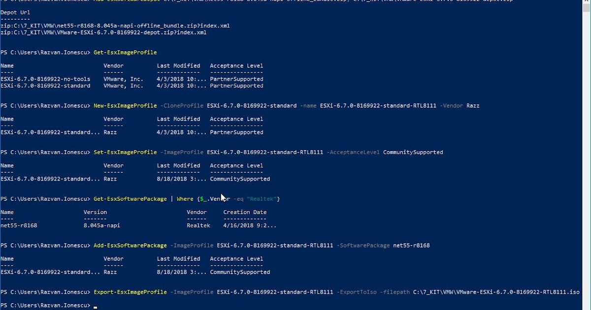 Sysadmin Stories: Adding Realtek 8111 driver to vSphere 6 7 image