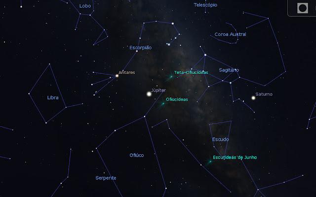 Júpiter no ponto mais alto do céu à meia-noite de 10 de junho de 2019