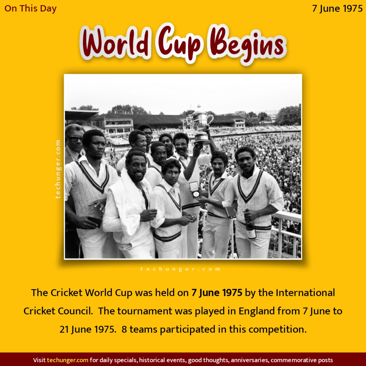 first World cup played, 2021-06-07, 07/06/2021, 7 Jun, 7 Jun 2021, 7 Jun dinvishesh, 7 Jun techunger, ०७/०५/२०२१, ०७ जून दिनविशेष, ०७ जून घटना, ७ जून जन्मदिन, ७ जून स्मृतिदिन, ७ जून इतिहास, techunger, Saurabh Chaudhari, marathi quotes, hindi quotes