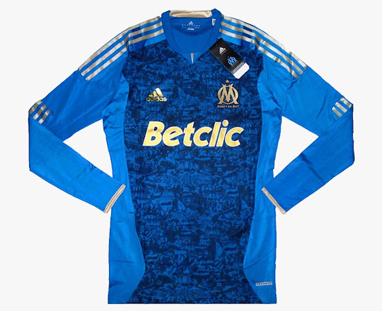 96642776d 2 - Olympique Marseille 2011-2012 Away Kit. Blue and golden with a graffiti  design incorporating ...