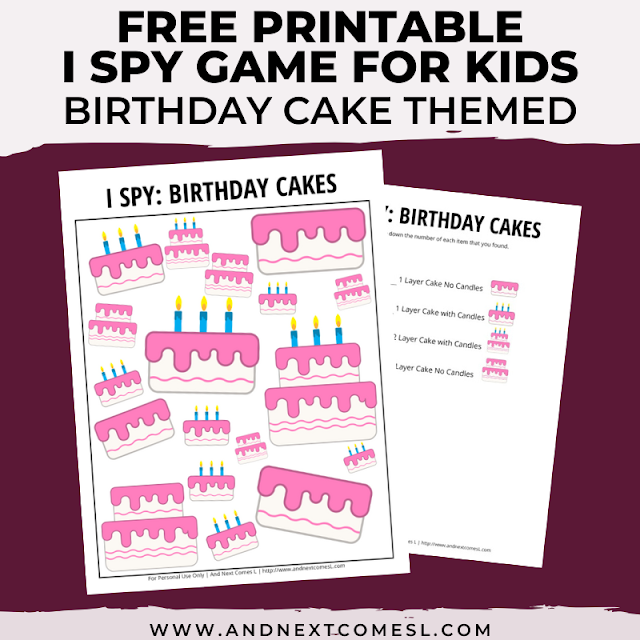 Free I spy game printable for kids: birthday themed