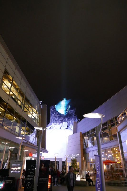 Godzilla smoke light installation Cinerama Dome night
