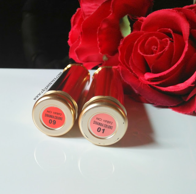Sivanna Colors 24h Long Lasting Moist Lipstick 01 and 09