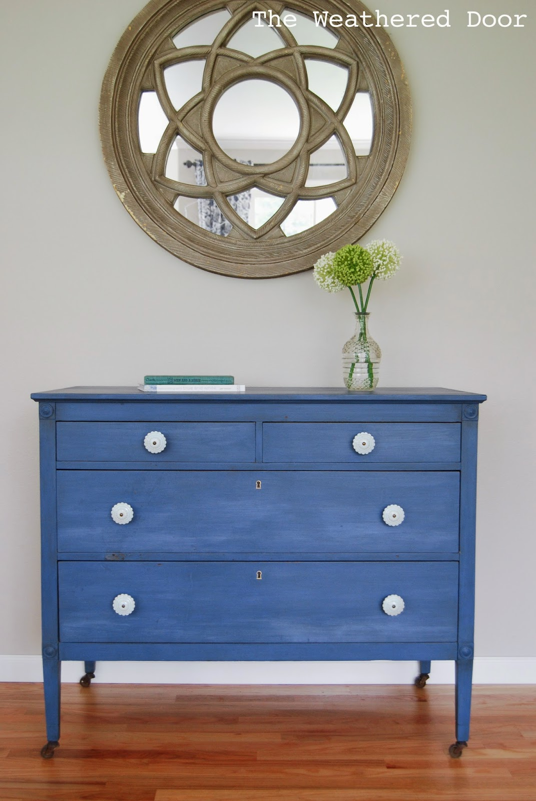 Popular A Federal Blue Milk Paint Dresser with Light Blue Knobs - The  RC86