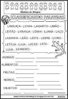 Classificar palavras com letra L