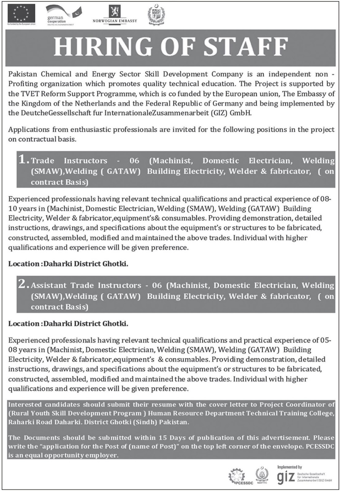 Pakistan Chemical & Energy Sector Skill Development Company Jobs 2019
