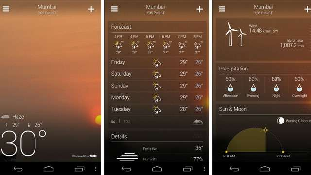 Yahoo! Weather App for Android updated, gives 10 days weather forecast and comes with a revamped iOS App like look