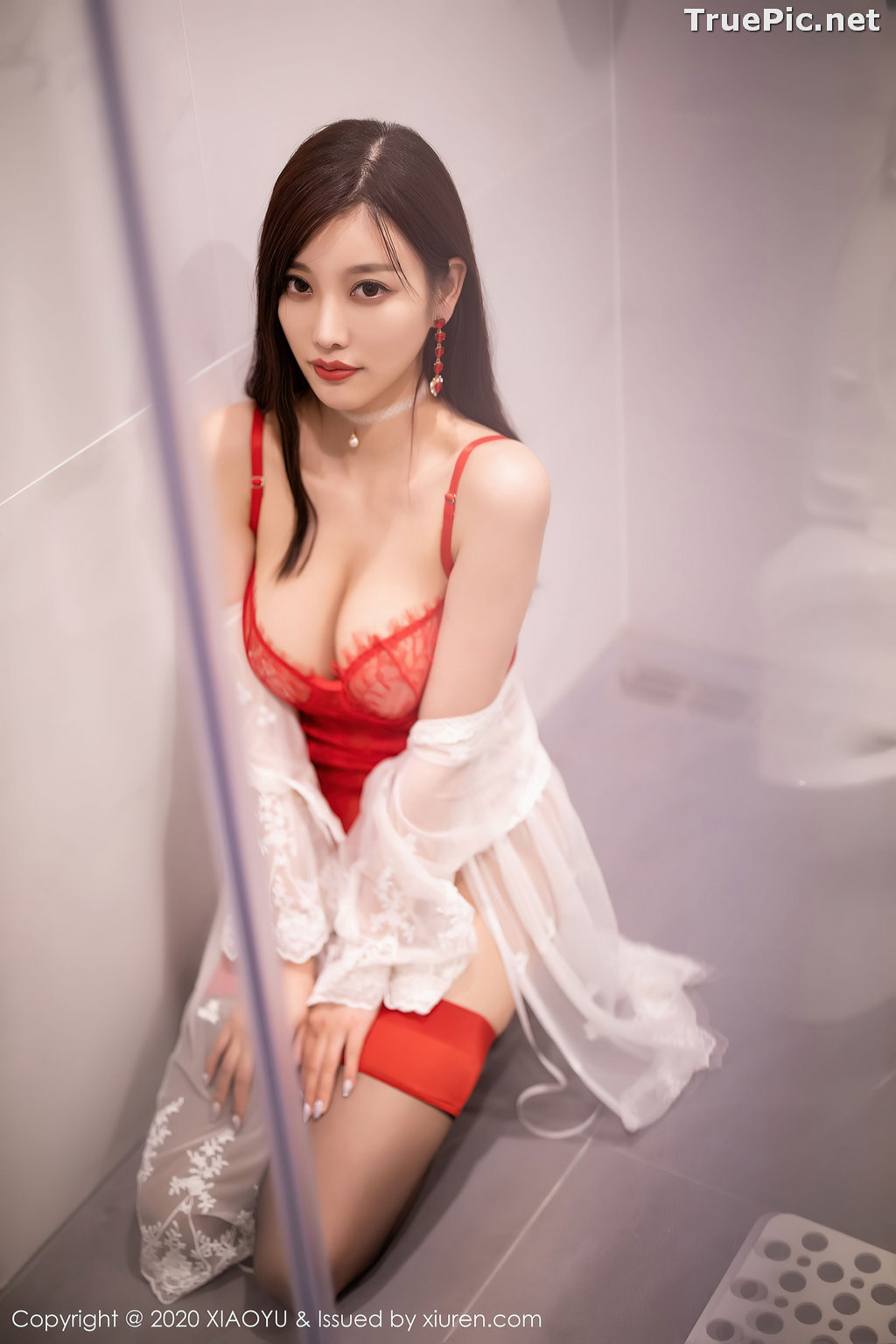 Image XiaoYu Vol.413 - Chinese Model - Yang Chen Chen (杨晨晨sugar)- Red Crystal-clear Lingerie - TruePic.net - Picture-10