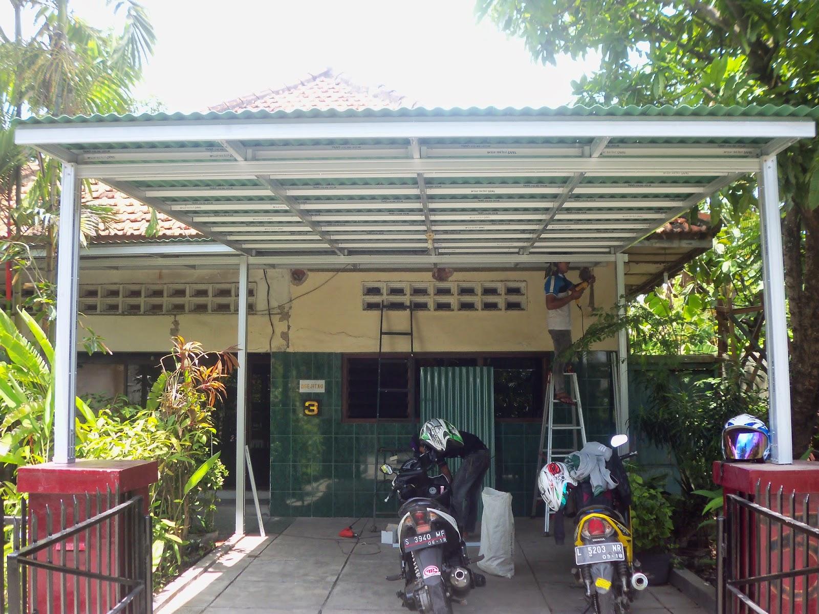 biaya membuat garasi mobil dengan baja ringan kanopi minimalis surabaya