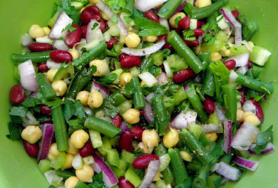 Freshly Made Three bean salad in Serving Dish
