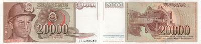 Yugoslavia: Billete de 20.000 dinaras de 1987