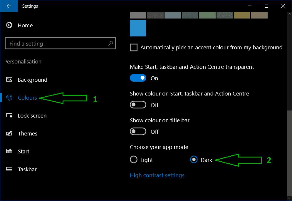 enable dark theme in Windows 10 computer