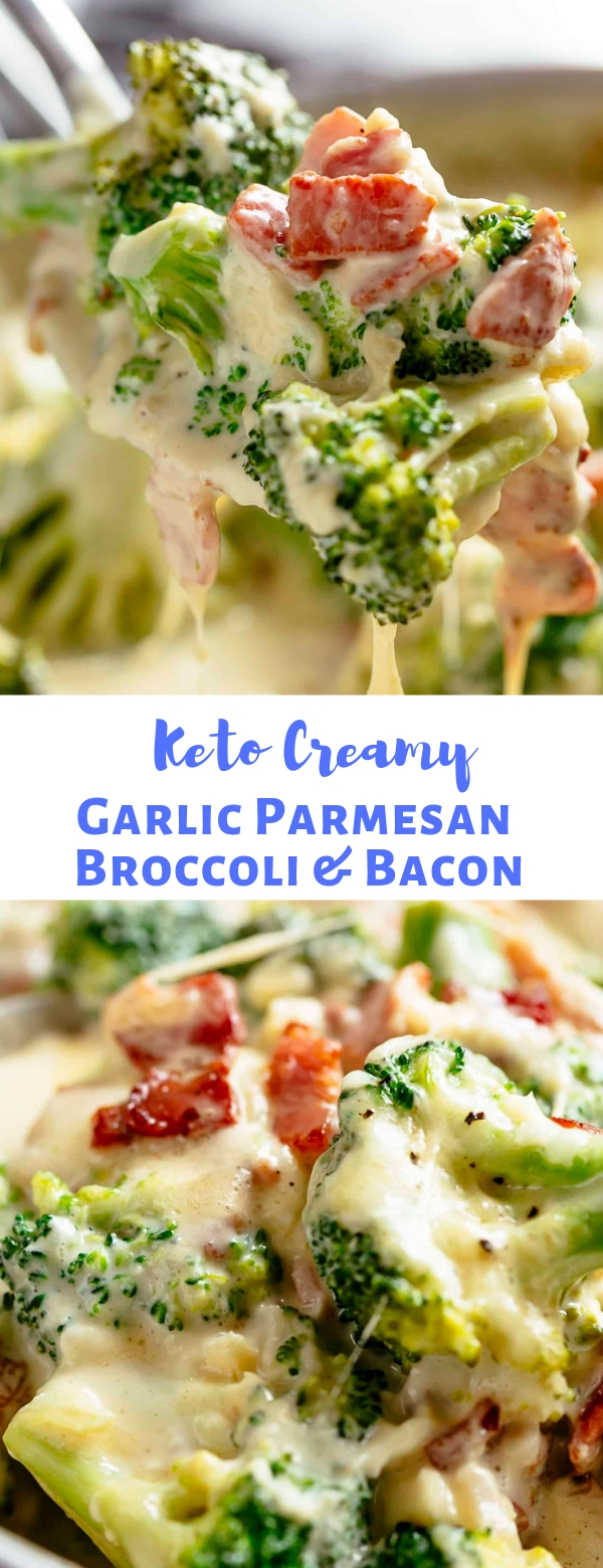 Keto Creamy Garlic Parmesan Broccoli & Bacon