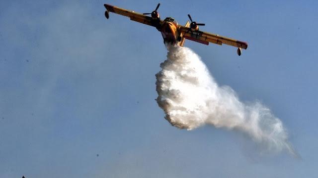 Πυροσβεστικά αεροσκάφη στην κατάσβεση της φωτιάς στο Κρανίδι Αργολίδας