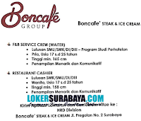 Bursa Kerja Surabaya Terbaru di Boncafe' Steak and Ice Cream Nopember 201
