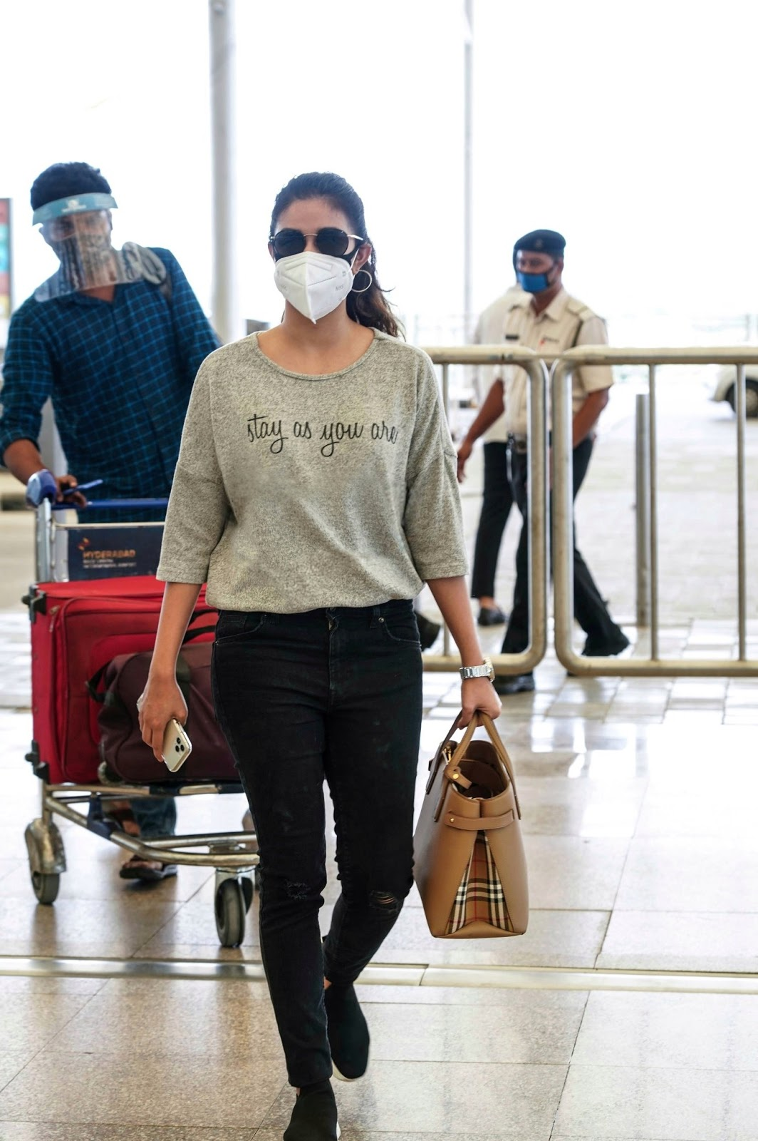 Keerthy Suresh in the Mask with Stunning Walk Style at Hyderabad Airport 2
