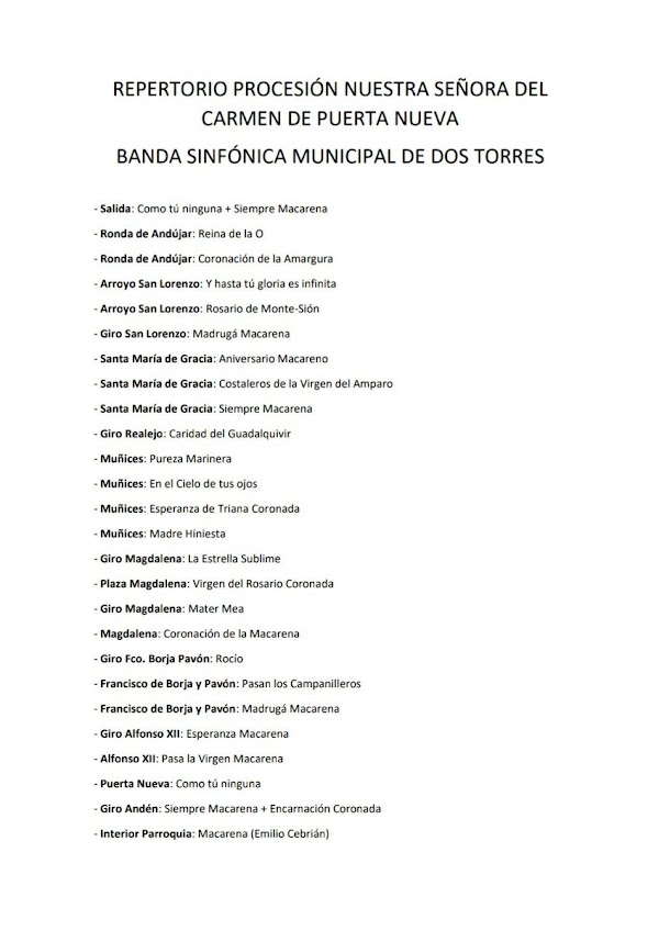 Horario, Itinerario y Repertorio que sonará tras Nuestra Señora del Carmen de Puerta Nueva de Córdoba