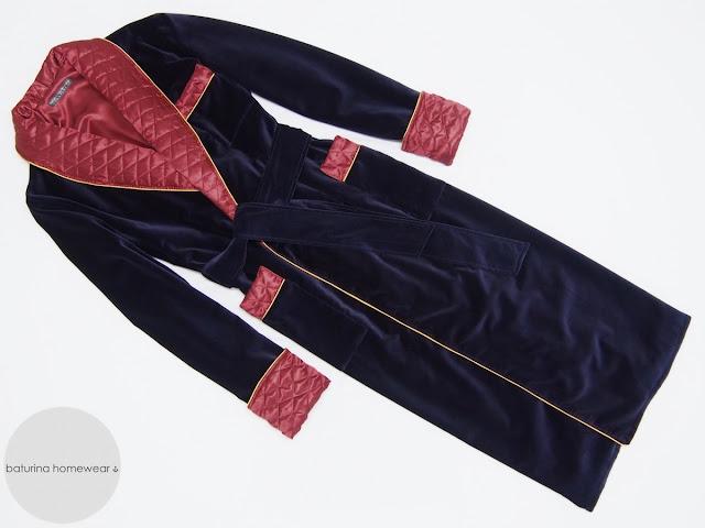 Men's dark blue velvet dressing gown burgundy quilted silk robe