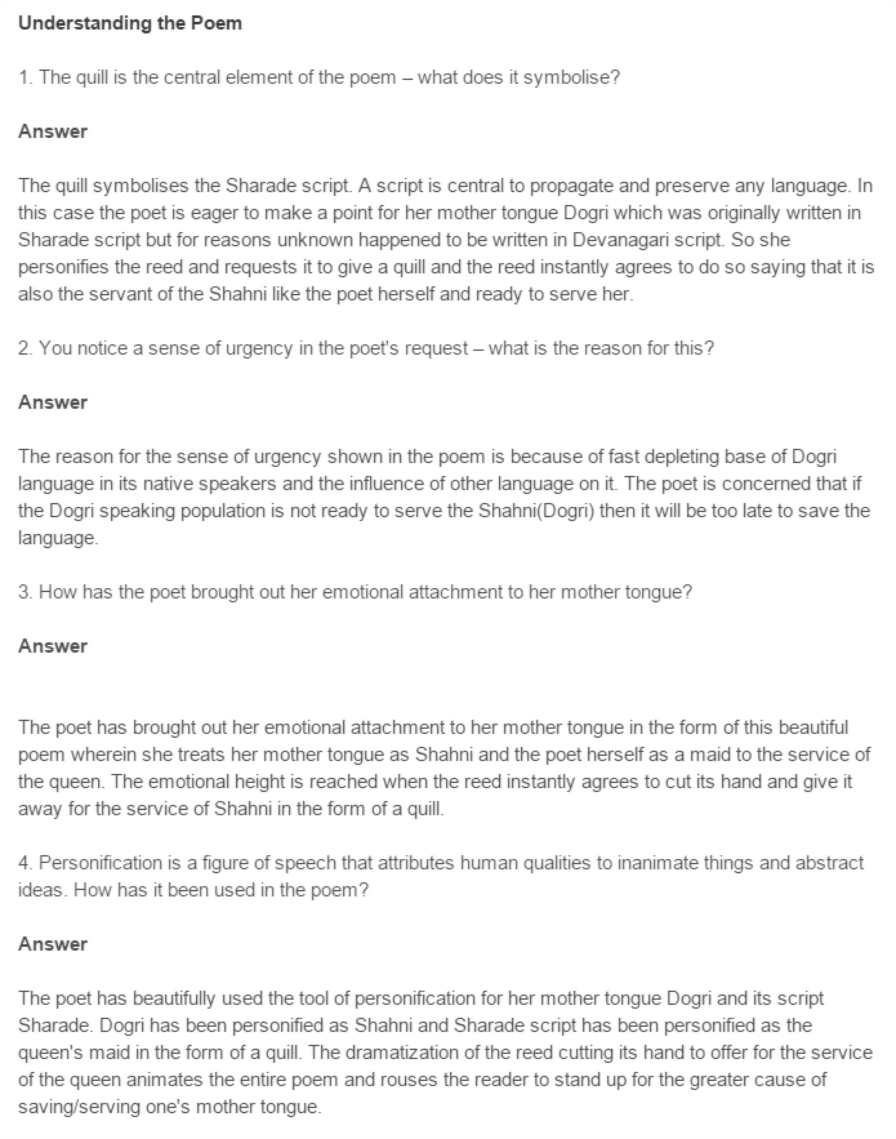 NCERT Class 11 English Words Poetry Chapter 6 Mother Tongue