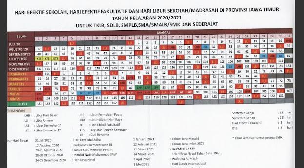 Kalender Pendidikan tahun pelajaran 2020/2021 Provinsi Jawa Timur