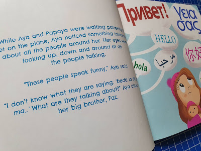 Childrens book showing people speaking languages we don't understand