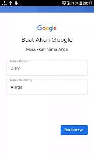 nama depan dan nama belakang AKUN google android