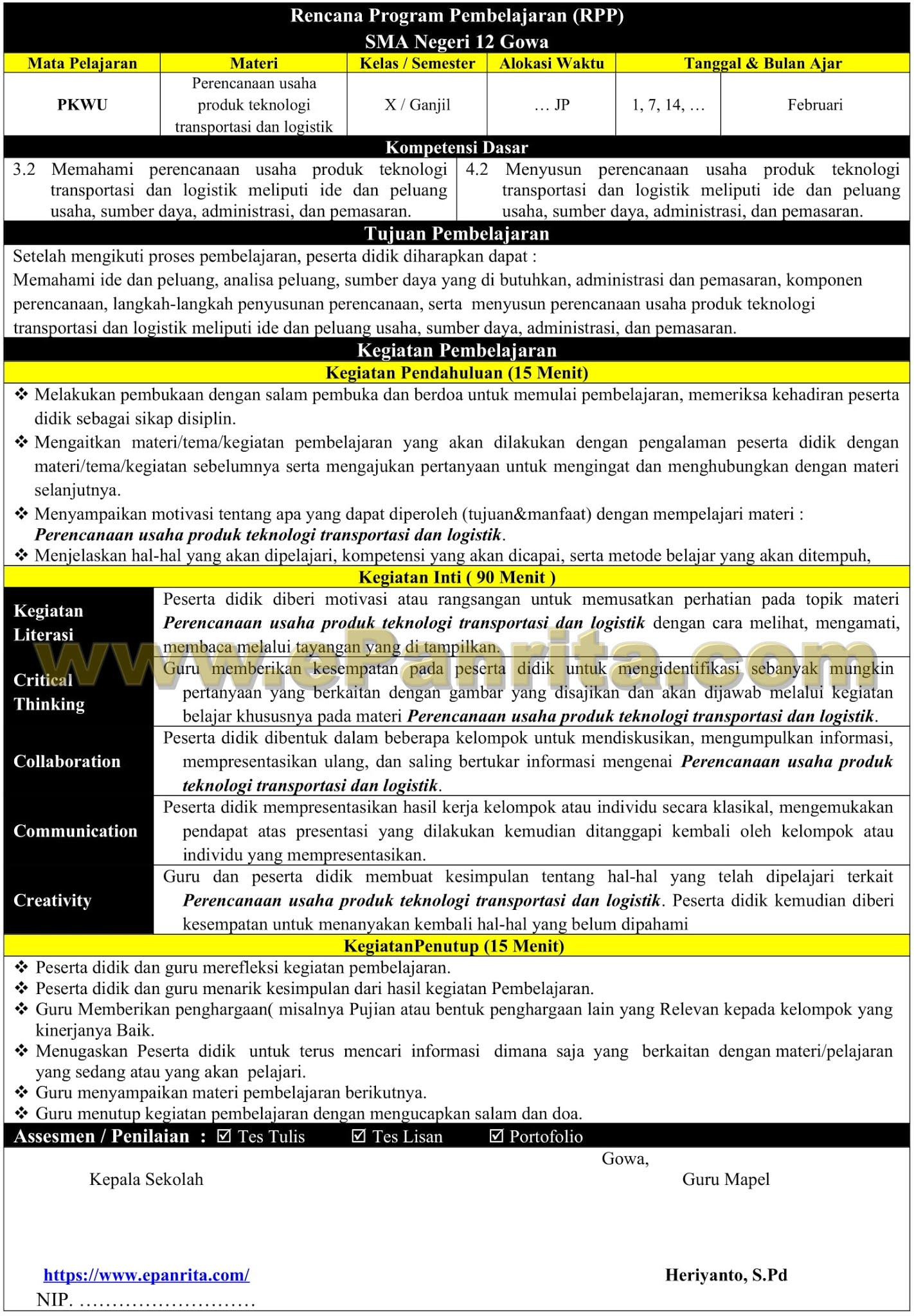 RPP 1 Halaman Prakarya Aspek Rekayasa (Perencanaan usaha produk teknologi transportasi dan logistik)