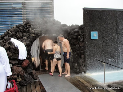 entering cave sauna at Blue Lagoon in Iceland