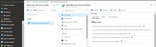 Overview Recovery Services vault