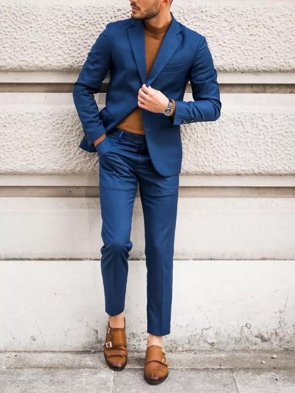 Cobalt blue colour suit with brown t-shirt