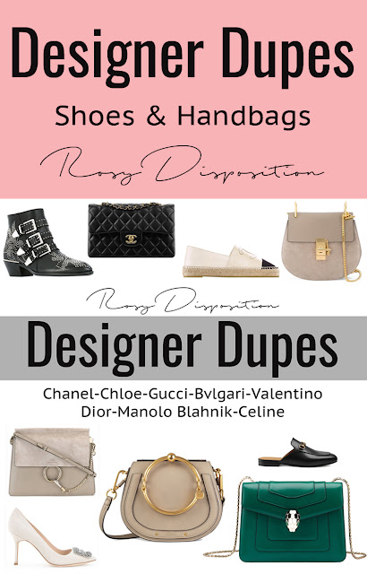 Designer Dupes fake bag shoes Chloe Sussana Boots Chanel Classic Flap Reissue Dior Diorama Studded Espadrilles Chloe Drew Faye Nile Manolo Blahnik Hangisi Gucci Mule Loafers Bvlgari Serpenti ASOS Shein Betts Boohoo