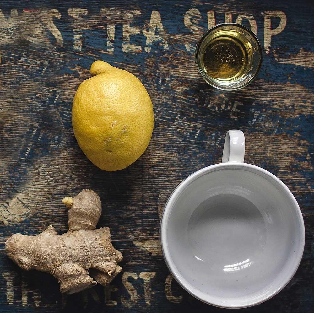 Lemon, ginger, and honey for making lemon ginger tea