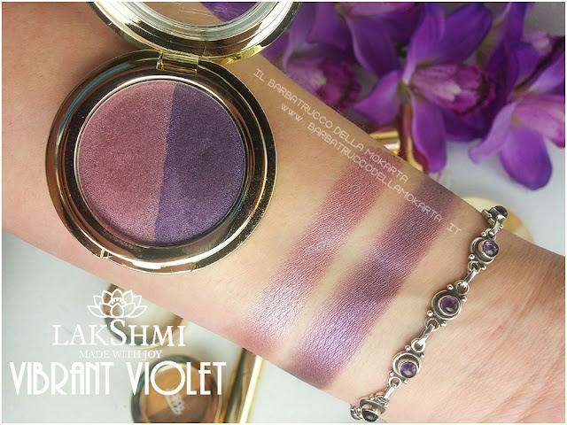 vibrant violet  55 eyeshadow ombretti swatches lakshmi makeup vegan ecobio