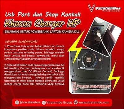 Dilarang menge-cas powerbank di bus dan pesawat