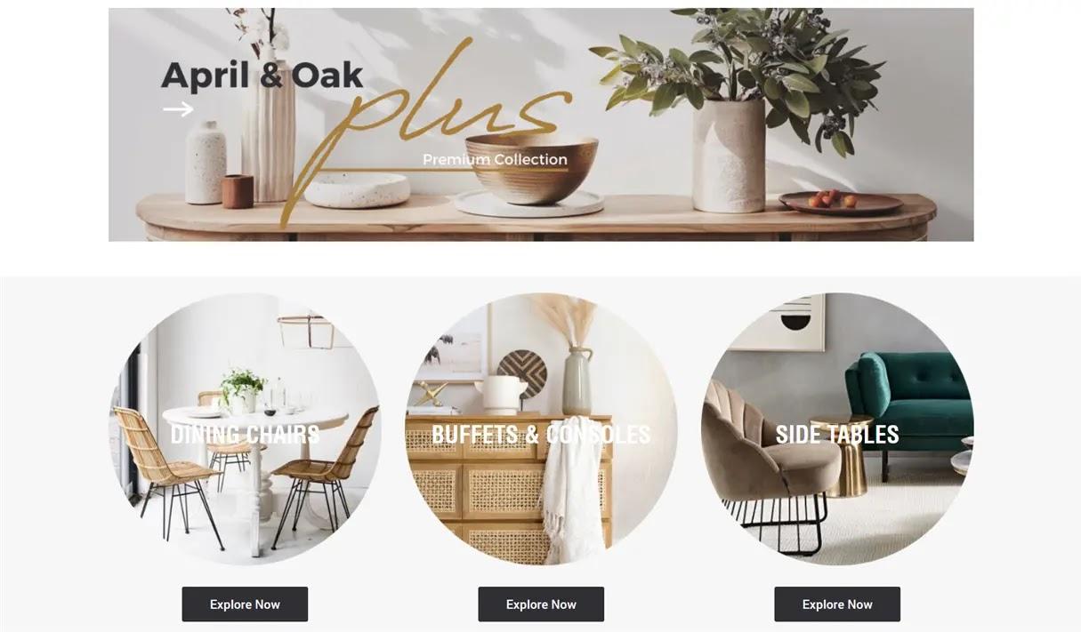 シドニーの家具屋さん「April and Oak」の通販サイトトップページ画像写真