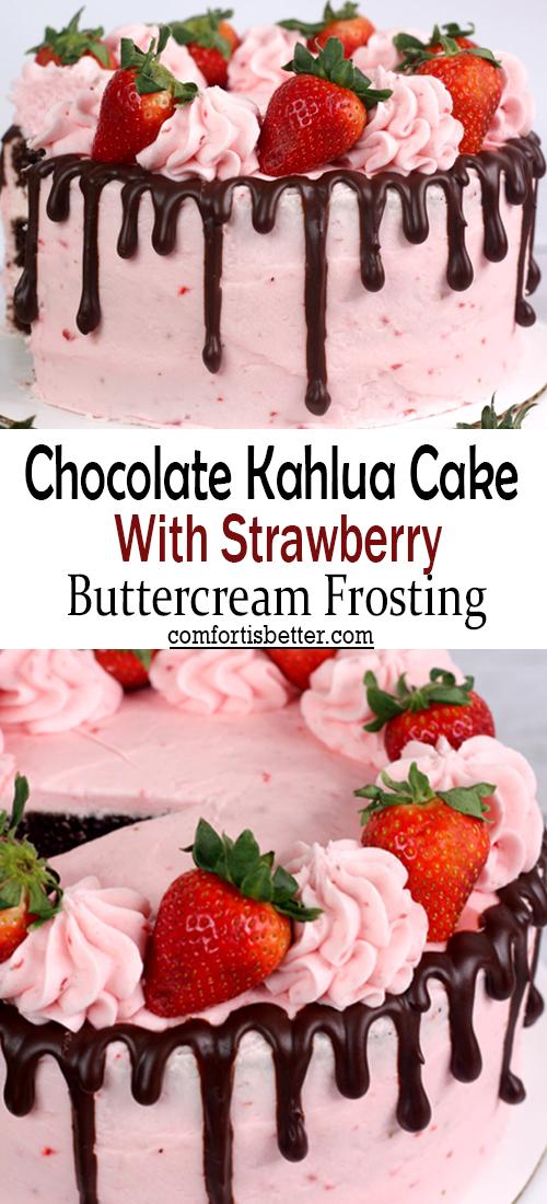 Chocolatе Kahlua Cakе wіth Strawbеrry Buttеrcrеam Frostіng