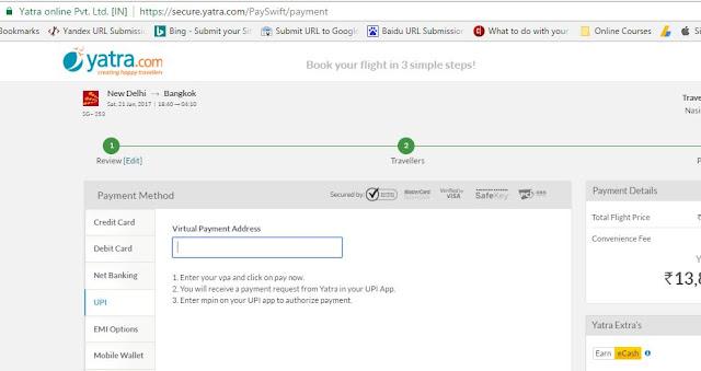 Pay Yatra.com using UPI payment or BHIM APP