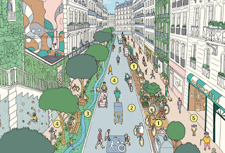 An overview illustration of what paris might look like, focusing on walking and cycling, with trees, street art, and a climbing wall.