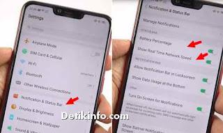 menu notifikasi status persentase baterai realme