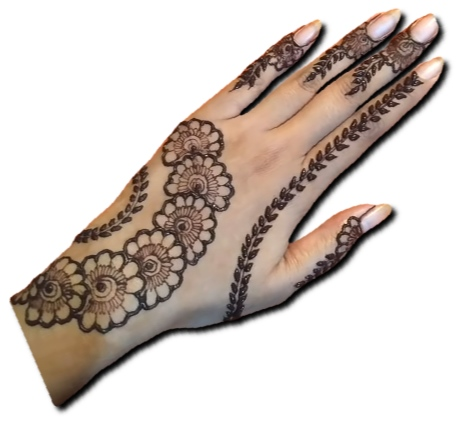 Back Hand Mehndi Design Flower Belt