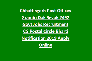 Chhattisgarh Post Offices Gramin Dak Sevak 1799 Govt Jobs Recruitment CG Postal Circle Bharti Notification 2019 Apply Online