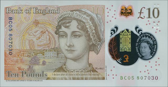 Great Britain new 10 Pound Sterling polymer note 2017 Jane Austen