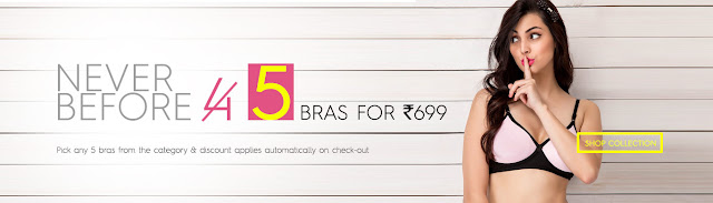 Clovia  Offer  Get 4 Bras at Rs. 699