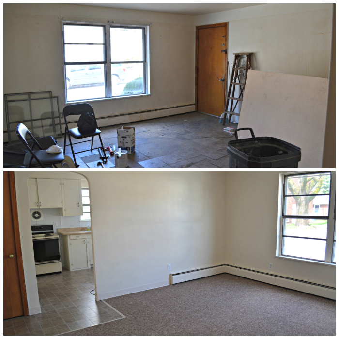 Renovated Apartment Livingroom Before and After