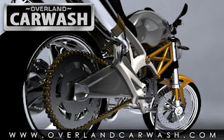 Sport motocycle with Overland Car Wash logo