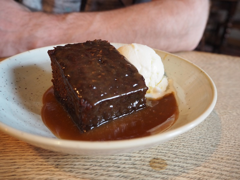 Sticky toffee pudding with whisky ice cream