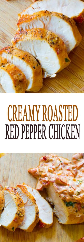 Creamy Roasted Red Pepper Chicken Skillet #chickenrecipes #chicken