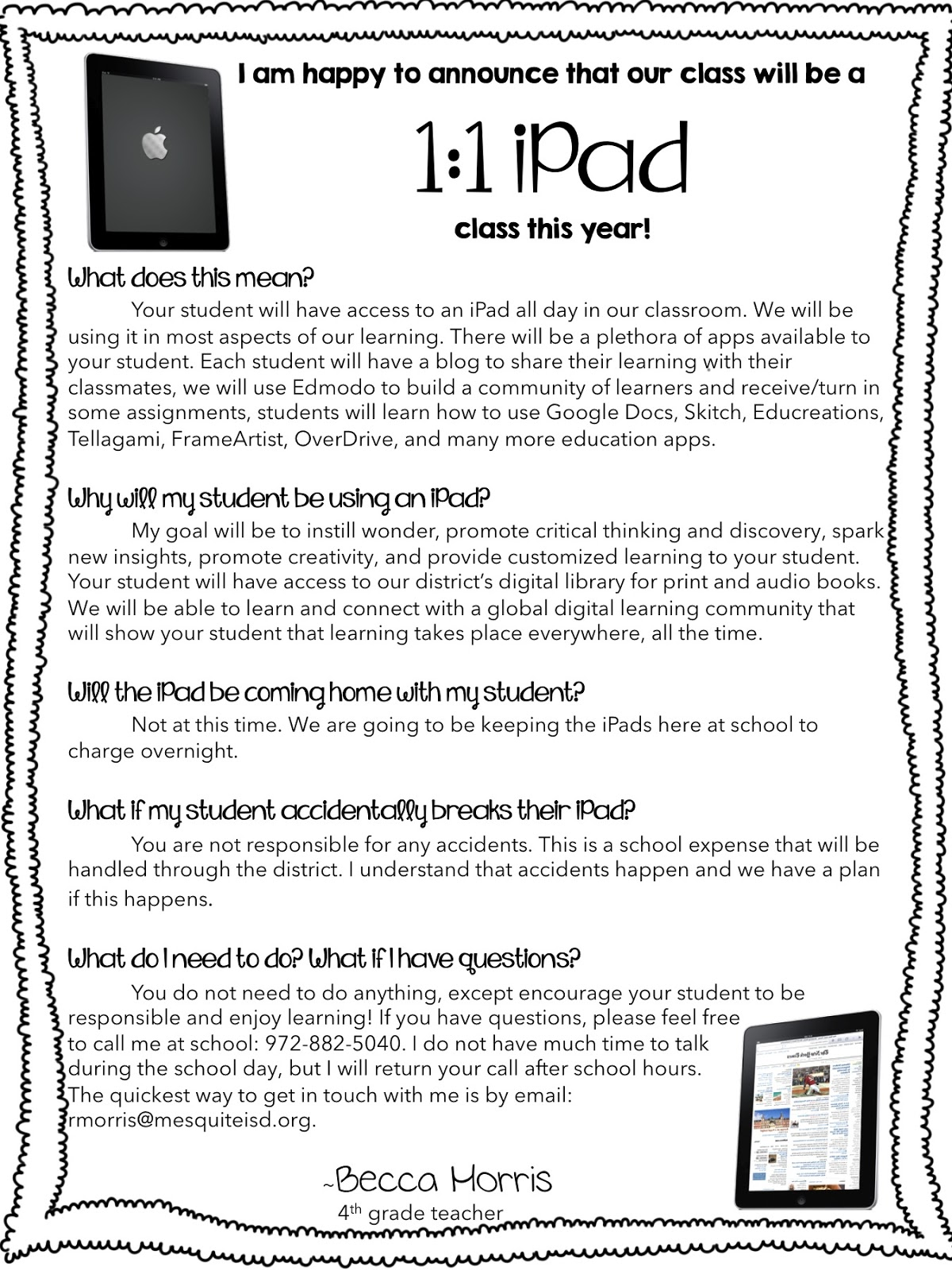Simply 2nd Resources 1 1 Ipad Parent Letter